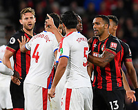 James Tomkins of Crystal Palace points the finger at Simon Francis of AFC Bournemouth left during AFC Bournemouth vs Crystal Palace, Premier League Football at the Vitality Stadium on 1st October 2018