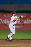 Orem Owlz second baseman Justin Jones (33) throws to first base during a Pioneer League game against the Ogden Raptors at Home of the OWLZ on August 24, 2018 in Orem, Utah. The Ogden Raptors defeated the Orem Owlz by a score of 13-5. (Zachary Lucy/Four Seam Images)