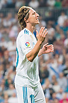 Luka Modric of Real Madrid reacts during the La Liga 2017-18 match between Real Madrid and Real Betis at Estadio Santiago Bernabeu on 20 September 2017 in Madrid, Spain. Photo by Diego Gonzalez / Power Sport Images