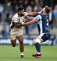 Junior Bulumakau of Doncaster Knights fends Joe Buckle of Yorkshire Carnegie. Greene King IPA Championship match, between Yorkshire Carnegie and Doncaster Knights on September 17, 2017 at Headingley Stadium in Leeds, England. Photo by: Patrick Khachfe / Onside Images