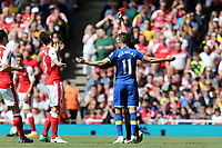 Laurent Koscielny of Arsenal is shown the red card by referee Michael Oliver during Arsenal vs Everton, Premier League Football at the Emirates Stadium on 21st May 2017
