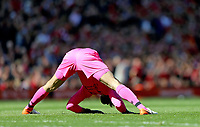 Liverpool's Alisson Becker stretches <br /> <br /> Photographer Rich Linley/CameraSport<br /> <br /> The Premier League - Liverpool v Wolverhampton Wanderers - Sunday 12th May 2019 - Anfield - Liverpool<br /> <br /> World Copyright © 2019 CameraSport. All rights reserved. 43 Linden Ave. Countesthorpe. Leicester. England. LE8 5PG - Tel: +44 (0) 116 277 4147 - admin@camerasport.com - www.camerasport.com