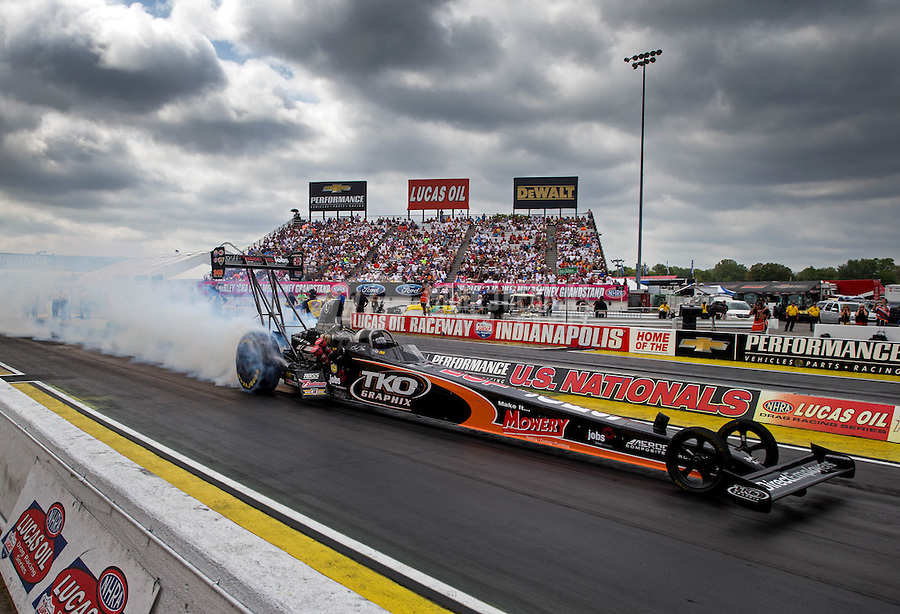 Sept. 1, 2013; Clermont, IN, USA: NHRA top fuel dragster driver Bruce Litton during qualifying for the US Nationals at Lucas Oil Raceway. Mandatory Credit: Mark J. Rebilas-