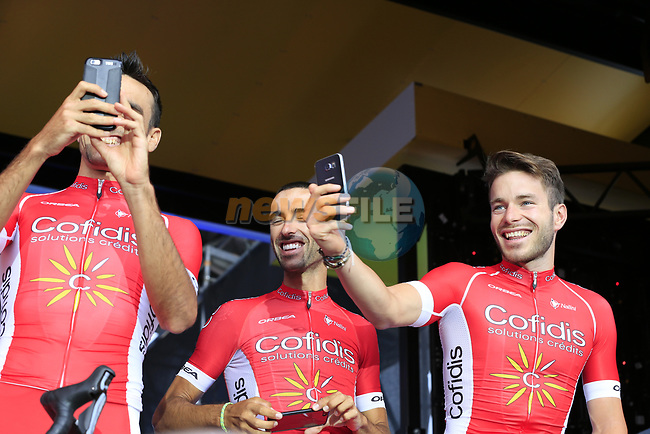 Cofidis team on stage at the Team Presentation in Burgplatz Dusseldorf before the 104th edition of the Tour de France 2017, Dusseldorf, Germany. 29th June 2017.<br /> Picture: Eoin Clarke | Cyclefile<br /> <br /> <br /> All photos usage must carry mandatory copyright credit (&copy; Cyclefile | Eoin Clarke)