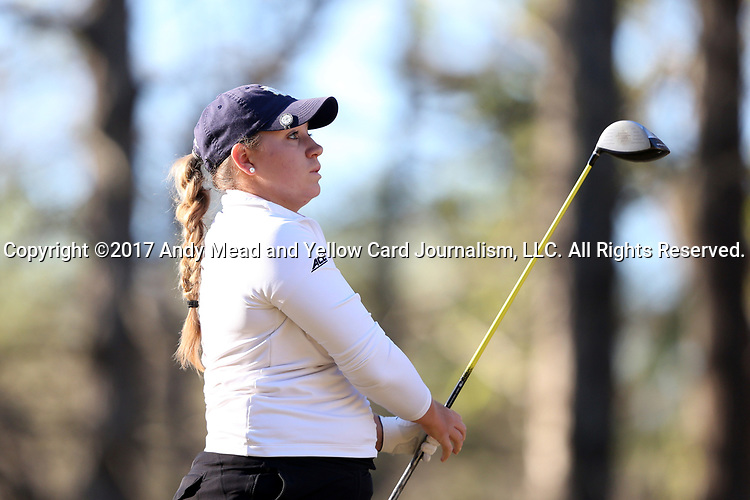 BROWNS SUMMIT, NC - APRIL 01: Notre Dame's Isabella DiLisio tees off on the 11th hole. The first round of the Bryan National Collegiate Women's Golf Tournament was held on April 1, 2017, at the Bryan Park Champions Course in Browns Summit, NC.
