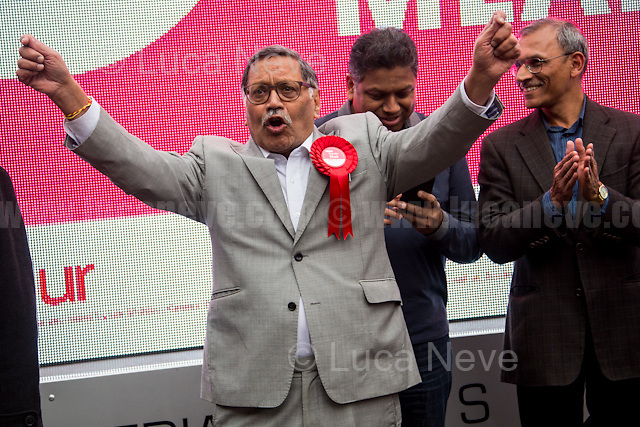 Navin Shah AM (Labour Party candidate for Member of Parliament for Harrow East).<br /> <br /> London, 07/06/2017. Documenting the last day of Jeremy Corbyn and the Labour Party electoral Campaign on the eve of the General Election 2017: Harrow.<br /> <br /> For a video of Jeremy Corbyn Speech please click here (Source, Jason N. Parkinson for Report digital, https://www.reportdigital.co.uk/): https://www.facebook.com/jason.n.parkinson/videos/10211031804124322/