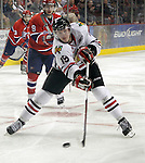 04/30/11--Winterhawks' Ryan Johansen takes a shot at Spokane's goal in Game 5 of the Western Conference Championship at the Rose Garden...Photo by Jaime Valdez........................................