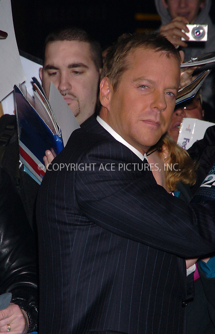 WWW.ACEPIXS.COM . . . . .  ....January 12 2006, New York City......Kiefer Sutherland at the Late Show with David Letterman....Please byline: AJ Sokalner - ACEPIXS.COM.... *** ***..Ace Pictures, Inc:  ..Philip Vaughan (212) 243-8787 or (646) 769 0430..e-mail: info@acepixs.com..web: http://www.acepixs.com