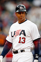 Alex Rodriguez of the USA during the World Baseball Championships at Angel Stadium in Anaheim,California on March 12, 2006. Photo by Larry Goren/Four Seam Images