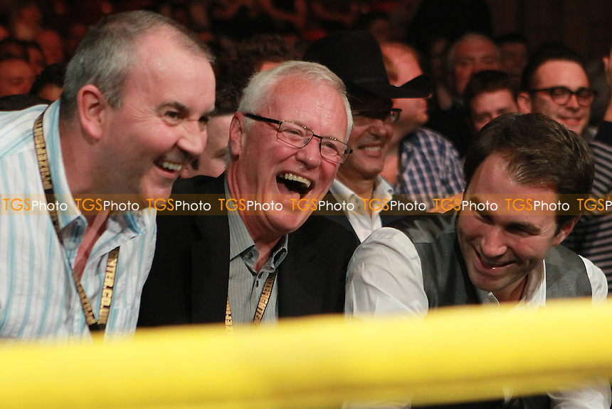 Darts player Phil Taylor and promoters Barry Hearn and Eddie Hearn at Prizefighter International Heavyweights at Alexandra Palace, promoted by Matchroom Sports - 07/05/11 - MANDATORY CREDIT: Chris Royle/TGSPHOTO - Self billing applies where appropriate - 0845 094 6026 - contact@tgsphoto.co.uk - NO UNPAID USE..