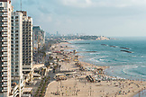 ISRAEL, Tel Aviv, a view of the city's beaches and promenade, Jaffa in the far background
