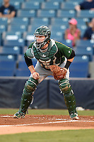 Daytona Tortugas catcher Chad Wallach (15) waits for a throw during a game against the Tampa Yankees on April 24, 2015 at George M. Steinbrenner Field in Tampa, Florida.  Tampa defeated Daytona 12-7.  (Mike Janes/Four Seam Images)