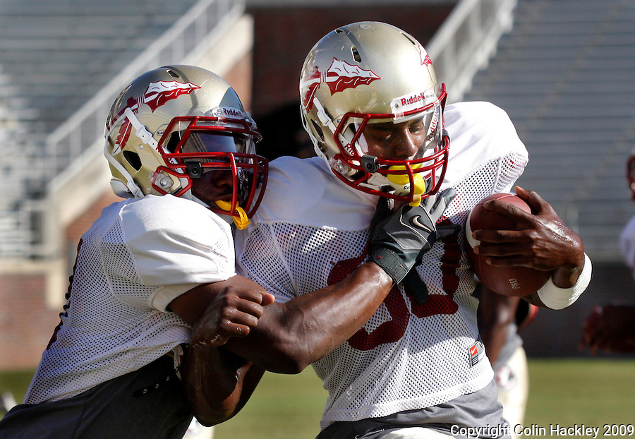 TALLAHASSEE, FL. 8/29/09-FSU-SCHILL HARLEY 0829 CH01-Florida State defensive back scrimmage Michael Schill, left, grabs Jajuan Harley during a drill prior to Saturday's scrimmage in Tallahassee...COLIN HACKLEY PHOTO