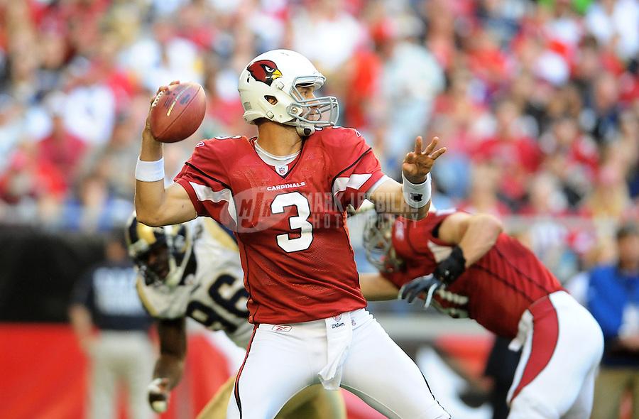 Dec. 5, 2010; Glendale, AZ, USA;  Arizona Cardinals quarterback (3) Derek Anderson throws a pass in the first quarter against the St. Louis Rams at University of Phoenix Stadium. Mandatory Credit: Mark J. Rebilas-
