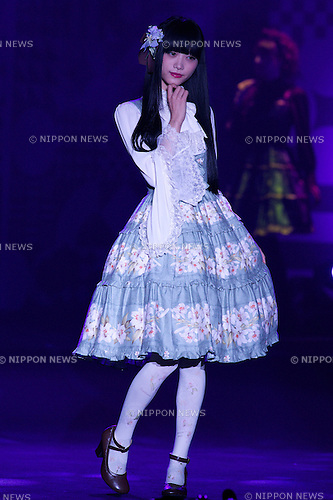 "Hiko Achiba, September 28, 2014, Tokyo, Japan : Model Hiko Achiba wearing fashion brand ""KERA"" walks down the catwalk during the ""Moshi Moshi Nippon Festival 2014"" on September 28, 2014 in Tokyo, Japan. Several famous Idols such as Dempagumi idol group, Kyary Pamyu Pamyu and Harayuku models attend the Moshi Moshi Nippon Festival 2014 to promotes the Japanese pop culture (fashion, anime, music and food) to non-Japanese people. (Photo by Rodrigo Reyes Marin/AFLO)"