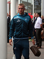 Oliver McBurnie arrives prior to the game during the Premier League match between Southampton and Swansea City at the St Mary's Stadium, Southampton, England, UK. Saturday 12 August 2017