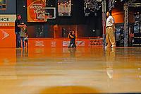 "30 September, 2010, Kansas City, Kansas USA.Brad Daugherty interviews Denny Hamlin on the ""Center Court"" of The College Basketball Experience for ESPN..©2010, F. Peirce Williams, USA."