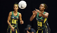 21.02.2018 Jamaica's Stacian Facey in action during the Jamaica v Fiji Taini Jamison Trophy netball match at the North Shore Events Centre in Auckland. Mandatory Photo Credit ©Michael Bradley.