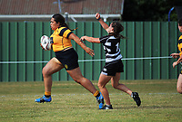 Taranaki v Hawkes Bay women. 2017 Bayleys Central Regional Sevens at Playford Park in Levin, New Zealand on Saturday, 9 December 2017. Photo: Dave Lintott / lintottphoto.co.nz