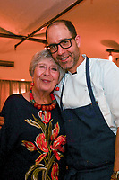 MELBOURNE, 30 June 2017 – Rita Erlich and Joe Vargetto pose for a photograph at a dinner celebrating Philippe Mouchel's 25 years in Australia with six chefs who worked with him in the past at Philippe Restaurant in Melbourne, Australia.