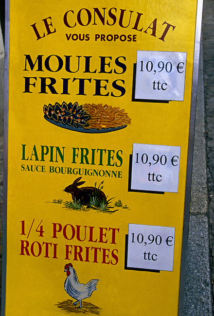 Menu, Le Consulat, restaurant, Montmartre District, city of Paris, Ile de France region, France, Europe.