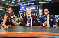 "DALLAS, TX - MARCH 15: Fox Sports boxing commentators Kate Abdo, Ray ""Boom Boom"" Mancini, and Shawn Porter at the weigh-in for the Fox Sports PBC Pay-Per_View World Welterweight Championship fight at AT&T Stadium on March 15, 2019 in Dallas, Texas. The fight is on March 16 at 9PM ET/6PM PT. (Photo by Frank Micelotta/Fox Sports/PictureGroup)"