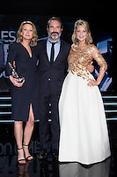Astrid Whettnall, Jean Dujardin &amp; Virginie Efira : 7&egrave;me C&eacute;r&eacute;monie des Magritte du Cin&eacute;ma, qui r&eacute;compense le septi&egrave;me art belge, au Square, &agrave; Bruxelles.<br /> 7th edition of the Magritte du Cinema awards ceremony.<br /> Belgium, Brussels, 4 February 2017