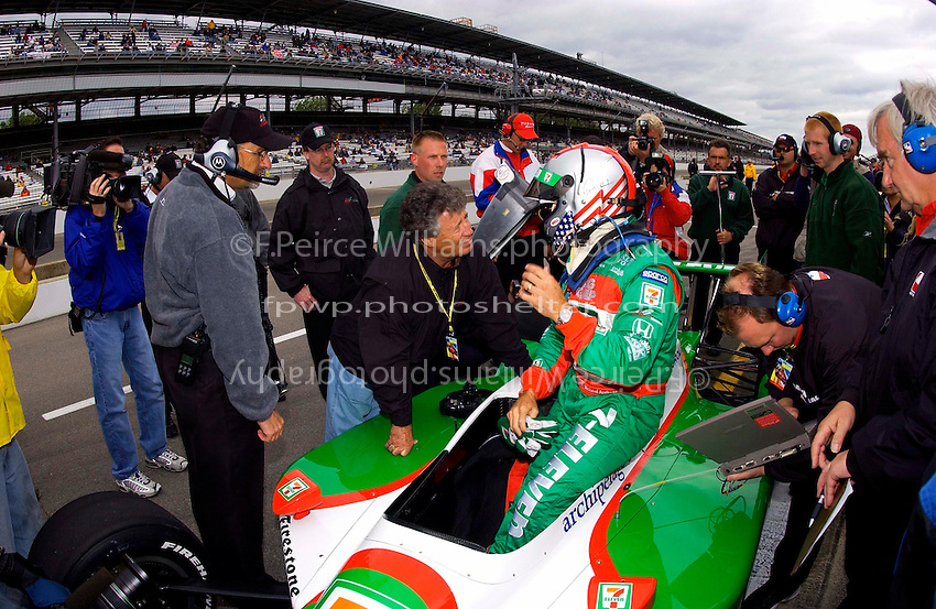Pole Weekend for the 87th Indianapolis 500, Indianapolis Motor Speedway, Speedway, Indiana, USA  25 May,2003.Michael Andretti talks with his father Mario and team co-owner Kim Green (L) after qualifying..World Copyright©F.Peirce Williams 2003 .ref: Digital Image Only..F. Peirce Williams .photography.P.O.Box 455 Eaton, OH 45320.p: 317.358.7326  e: fpwp@mac.com..