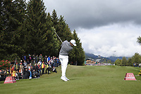 Tyrrell Hatton (ENG) tees off the 18th tee during Sunday's Final Round of the 2017 Omega European Masters held at Golf Club Crans-Sur-Sierre, Crans Montana, Switzerland. 10th September 2017.<br /> Picture: Eoin Clarke | Golffile<br /> <br /> <br /> All photos usage must carry mandatory copyright credit (&copy; Golffile | Eoin Clarke)