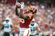 Landover, MD - October 14, 2018: Washington Redskins tight end Vernon Davis (85) catches a touchdown during the  game between Carolina Panthers and Washington Redskins at FedEx Field in Landover, MD.   (Photo by Elliott Brown/Media Images International)