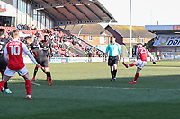 Ashley Hunter of Fleetwood Town (right) scores his team's first goal of the game to make the score 1-1 during the Sky Bet League 1 match between Fleetwood Town and MK Dons at Highbury Stadium, Fleetwood, England on 24 February 2018. Photo by David Horn / PRiME Media Images
