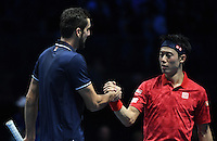 Marin Cilic (CRO)(7) action against Kei Nishikori (JPN)(5) in their John McEnroe  Group  match during Day Six of the Barclays ATP World Tour Finals 2016 played at The O2 Arena, London on November 18th  2016