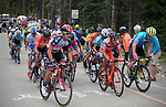 August 11, 2017 - Breckenridge, Colorado, U.S. -   The main peloton nears to top of the difficult Moonstone climb during the second stage of the inaugural Colorado Classic cycling race, Breckenridge, Colorado.