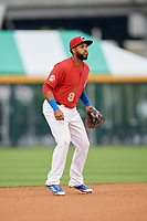 Buffalo Bisons shortstop Richard Urena (8) during a game against the Lehigh Valley IronPigs on June 23, 2018 at Coca-Cola Field in Buffalo, New York.  Lehigh Valley defeated Buffalo 4-1.  (Mike Janes/Four Seam Images)