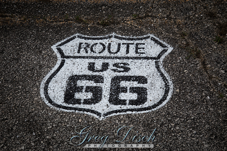 Route US 66 Shield on Road
