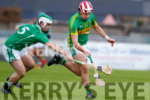 David Goulding Ballyduff in action against Jeremy McKenna Lixnaw in the Senior County Hurling Final in Austin Stack Park on Sunday