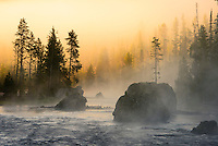 Foggy sunrise on the Firehole River in Yellowstone National Park.