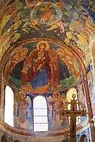 Fresco of the Madonna, Virgin Mary,in the Byzantine Orthodox monastery of Pantanassa , showing Byzantine frescos & Icons,  Mystras ,  Sparta, the Peloponnese, Greece. A UNESCO World Heritage Site