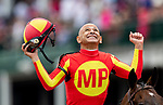 LOUISVILLE, KENTUCKY - MAY 03:  Mike Smith celebrates after he wins the Alysheba Stakes at Churchill Downs in Louisville, Kentucky on May 03, 2019. Evers/Eclipse Sportswire/CSM