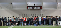 Students gathered at midfield to watch the Buckeye Football team practicing at the Woody Hayes Athletic Center on April 11, 2015. Students were invited to the facility for the fourth annual Student Appreciation Practice .  (Chris Russell/Dispatch Photo)