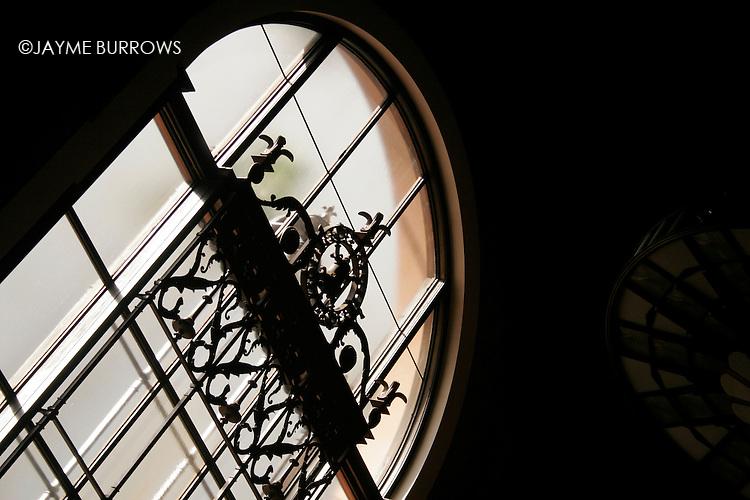 An ornate window.