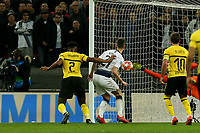Hugo Lloris of Tottenham Hotspur saves from a header by Dan-Axel Zagadou of Borussia Dortmund during Tottenham Hotspur vs Borussia Dortmund, UEFA Champions League Football at Wembley Stadium on 13th February 2019