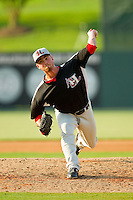 Hickory Crawdads relief pitcher Sam Stafford (24) in action against the Kannapolis Intimidators at CMC-Northeast Stadium on July 28, 2013 in Kannapolis, North Carolina.  The Crawdads defeated the Intimidators 6-1.  (Brian Westerholt/Four Seam Images)