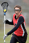 GER - Mainz, Germany, March 20: During the 1. Bundesliga Damen lacrosse match between Mainz Musketeers (white) and SC Frankfurt 1880 (red) on March 20, 2016 at Sportgelaende Dalheimer Weg in Mainz, Germany. Final score 7-12 (HT 3-5). (Photo by Dirk Markgraf / www.265-images.com) *** Local caption *** Sarah Broehl #4 of SC Frankfurt 1880