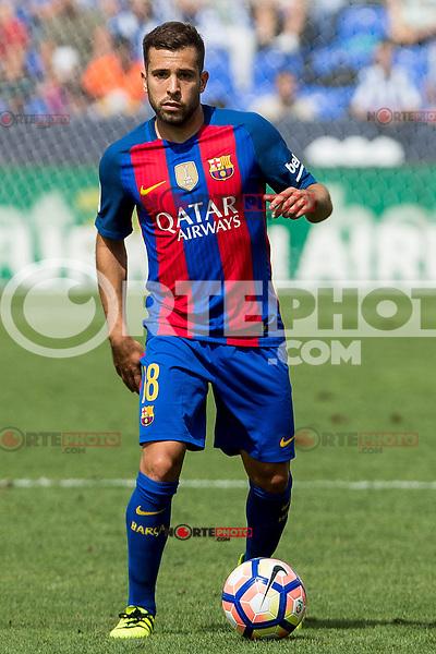 FC Barcelona's Jordi Alba during the match of La Liga between Club Deportivo Leganes and Futbol Club Barcelona at Butarque Estadium in Leganes. September 17, 2016. (ALTERPHOTOS/Rodrigo Jimenez) /NORTEPHOTO