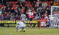Harry Pell of Cheltenham Town celebrates scoring his side's second goal in front of the Grimsby fans during the Sky Bet League 2 match between Cheltenham Town and Grimsby Town at the The LCI Rail Stadium,  Cheltenham, England on 17 April 2017. Photo by PRiME Media Images / Mark Hawkins.