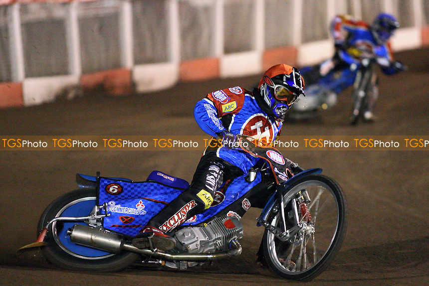 Heat 2: Ricky Kling (red) and Lubos Tomicek head for a 5-1 for Lakeside - Lakeside Hammers vs Poole Pirates - Spring Trophy 2nd Leg at Arena Essex Raceway - 14/03/08 - MANDATORY CREDIT: Gavin Ellis/TGSPHOTO. Self-Billing applies where appropriate. NO UNPAID USE. Tel: 0845 094 6026