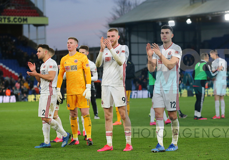 Sheffield Utd's George Baldock, Dean Henderson, Oli McBurnie and John Egan applaud the fans during the Premier League match at Selhurst Park, London. Picture date: 1st February 2020. Picture credit should read: Paul Terry/Sportimage
