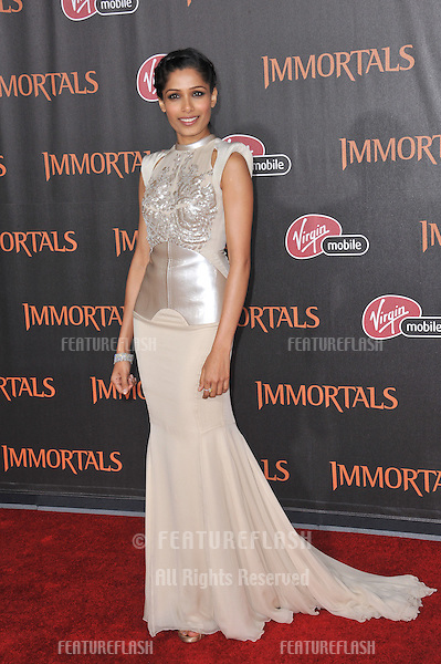"Freida Pinto at the world premiere of her new movie ""Immortals"" at the Nokia Theatre L.A. Live in downtown Los Angeles..November 7, 2011  Los Angeles, CA.Picture: Paul Smith / Featureflash"