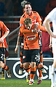 :: DUNDEE UTD'S DANNY SWANSON CELEBRATES WITH DUNDEE UTD'S DAVID GOODWILLIE AFTER SCORING THE THIRD ::